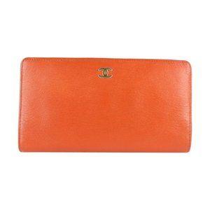 Chanel Orange Bifold Long Flap Wallet 9CZ0130